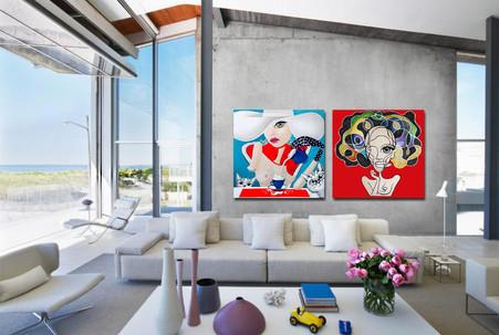 "Surreal pop art on canvas 48""x48"". Living room art decor"