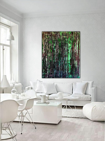 Large Abstract Painting In The White Living Room