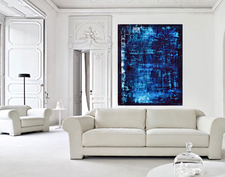 SOLD - blue abstract painting in white living room