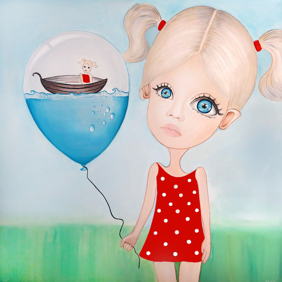 "Surreal Art Painting On Canvas 48""x48"" ""Dream Big Little Girl"" 2019"
