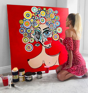Oversized contemporary surreal pop art painting on canvas