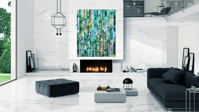 """Abstract oversized wall art on canvas 60""""x48"""" White contemporary living room wall decor"""