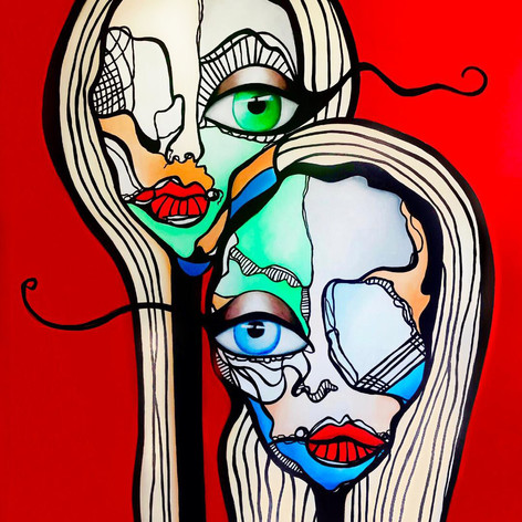 """Contemporary Female Face Painting 60""""x48"""" 2020"""