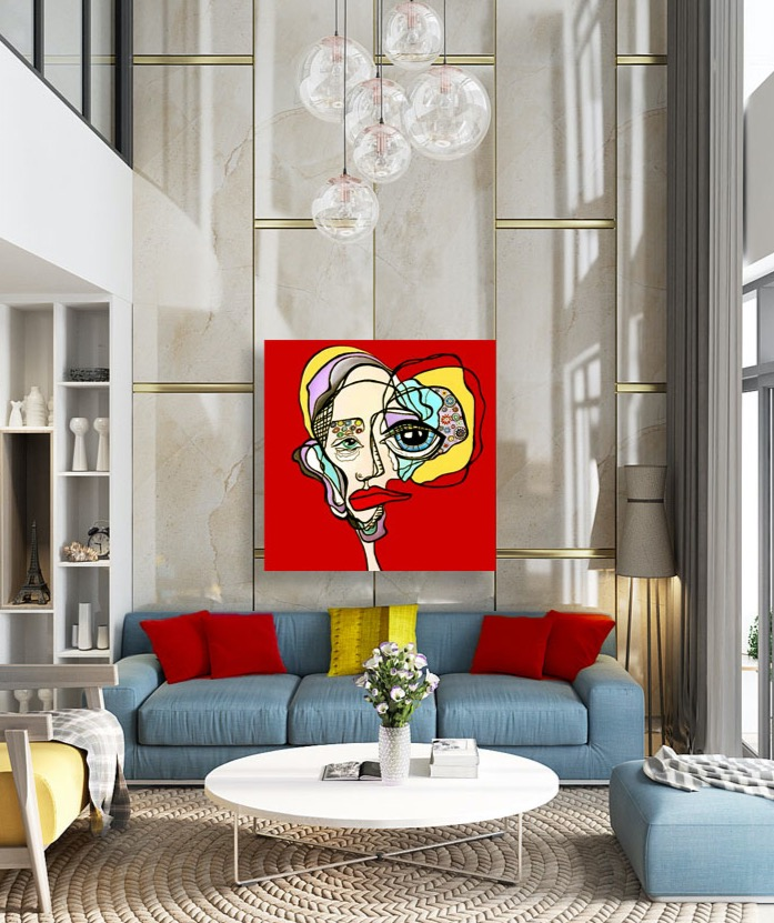 Contemporary Red Painting In The Living Room. Acrylic Artwork On Canvas