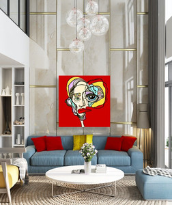 Large Original Red Contemporary Art In Luxury Living Room Los Angeles