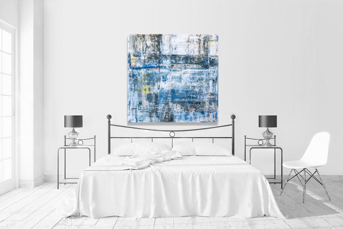 """Blue abstract acrylic painting on canvas 48""""x48"""" in white contemporary bedroom"""