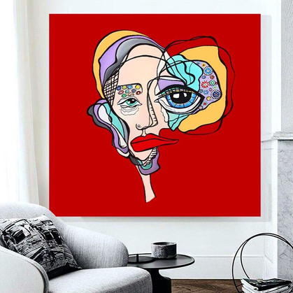 """Red acrylic abstract face painting on canvas 48""""x48"""""""
