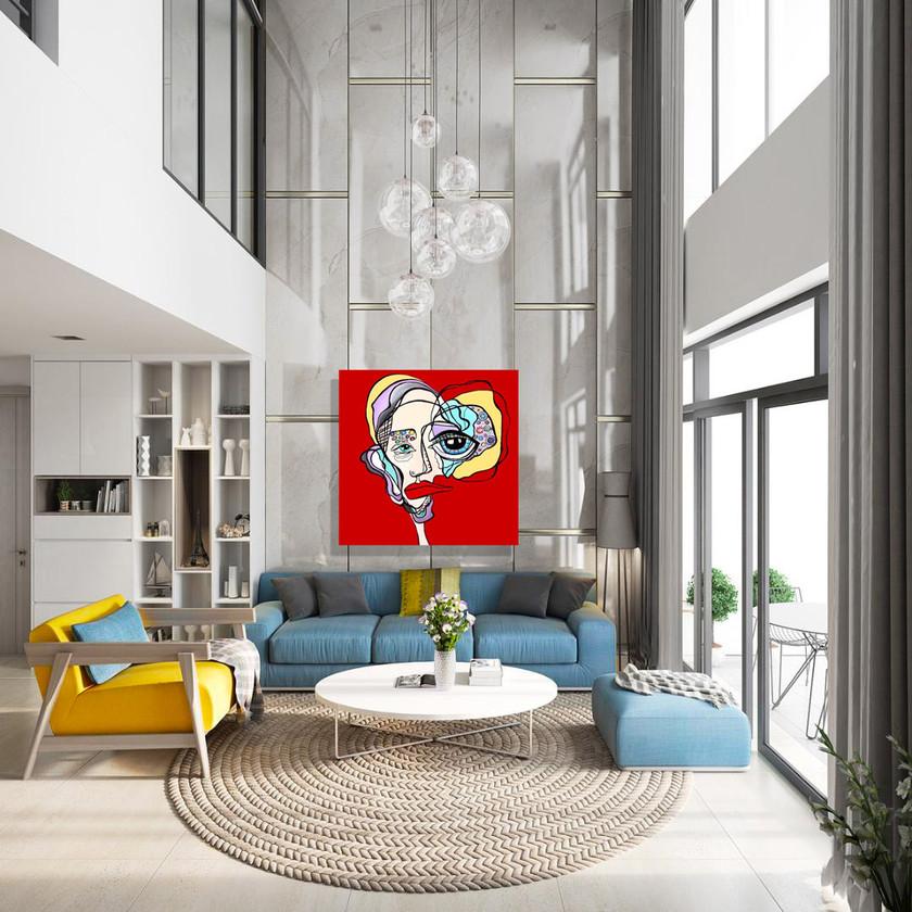 Hand Painted, Oversized Artwork In Modern Living Room