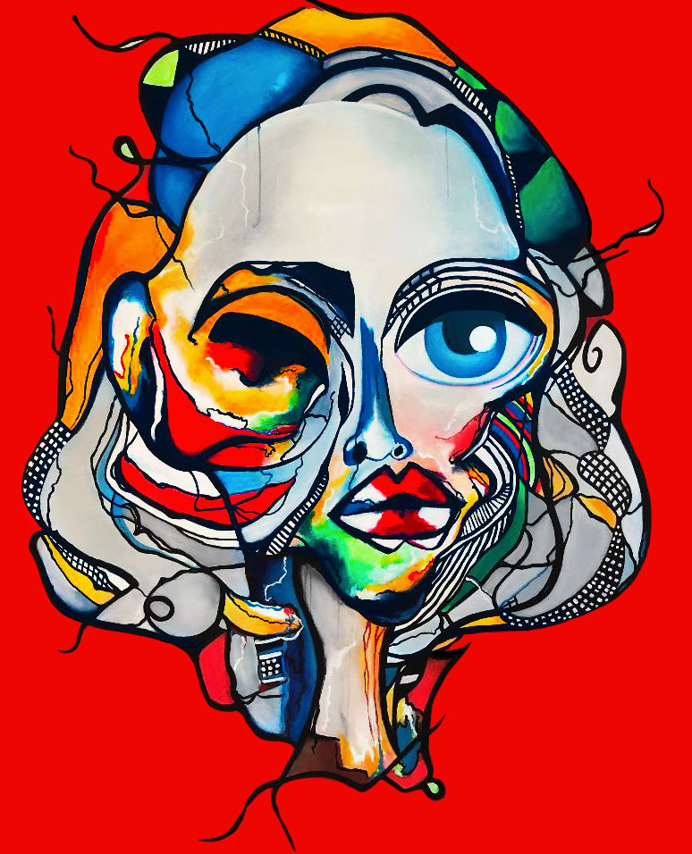 "Abstract Female Face Art Painting On Canvas 60""x48"" 2020"