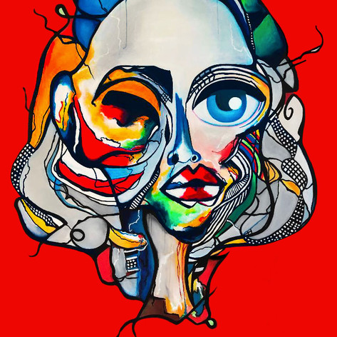 """Abstract Female Face Art Painting On Canvas 60""""x48"""" 2020"""