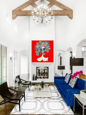 """Surreal pop art painting on canvas 48""""x48"""". White living room wall art decor"""