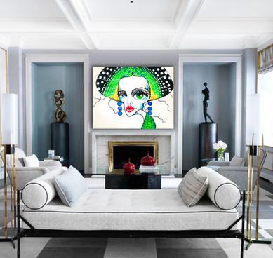 "Acrylic painting on canvas 48""x60"" Wall art decor"