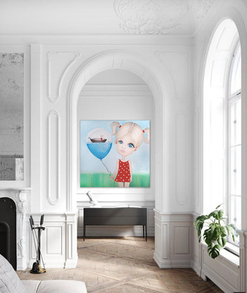 """Surreal painting on canvas 48""""x48"""" White wall art decor"""