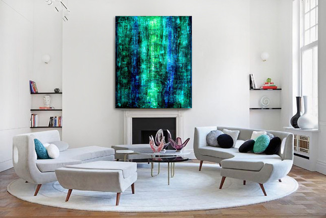 """Green-blue abstract ovrsized acrylic painting on canvas 60""""x48"""""""
