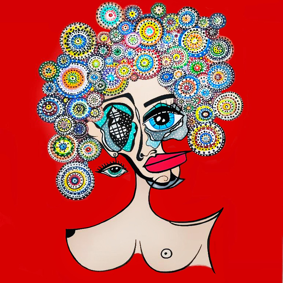 "Abstract Female Face Art Painting On Canvas 48""x48"" 2019"