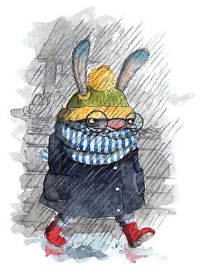 Childrens illustration rabbit in a bad mood in the rain