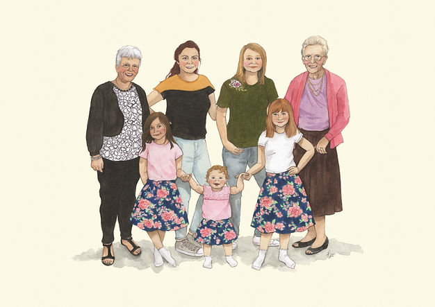 family portrait, custom portrait, happy family, four generations, grand daughters, daughters, great grandaughter