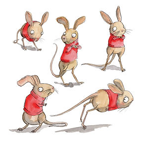 childrens character illustration jerboa in a jumper