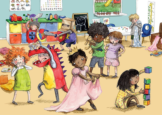 Childrens illustration pre-school chaos