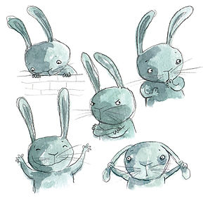 Childrens illustration character blue rabbit