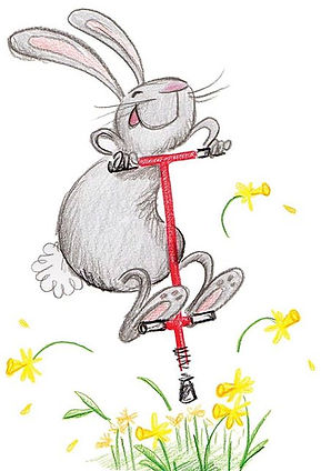 Childrens ilustraion rabit on a pogo stick