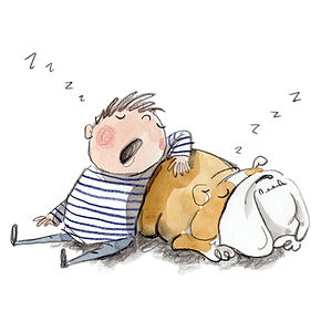 Childrens illustration boy and bulldog snoring