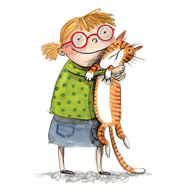 hildrens illustration little girl and her cat