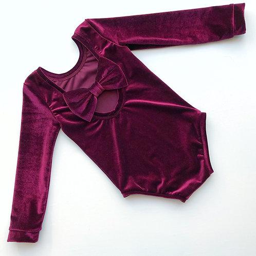 Burgundy Velvet Bow Back Bodysuit and Dress