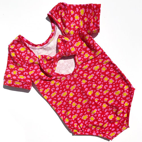 Bright leopard bow back bodysuit and dress
