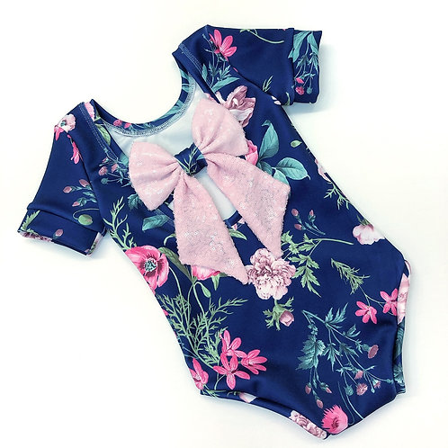 Midnight floral bow back bodysuit