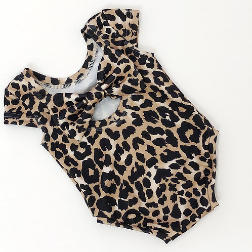 leopard print bow back bodysuit