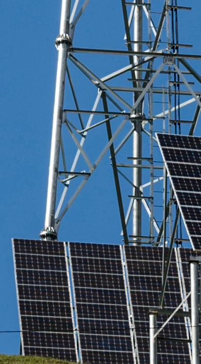 Telecommunication tower powered by solar
