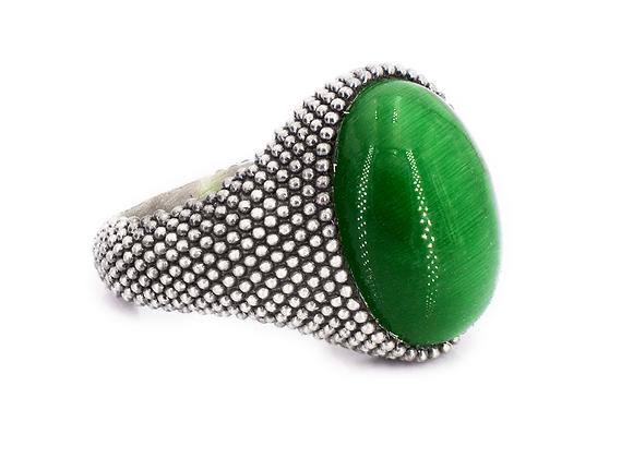Anello in argento 925 invecchiato con pietra ovale verde