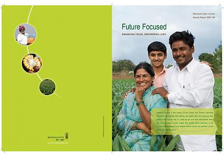 Photo of a Happy farmer family reflects the performance of Monsanto India.
