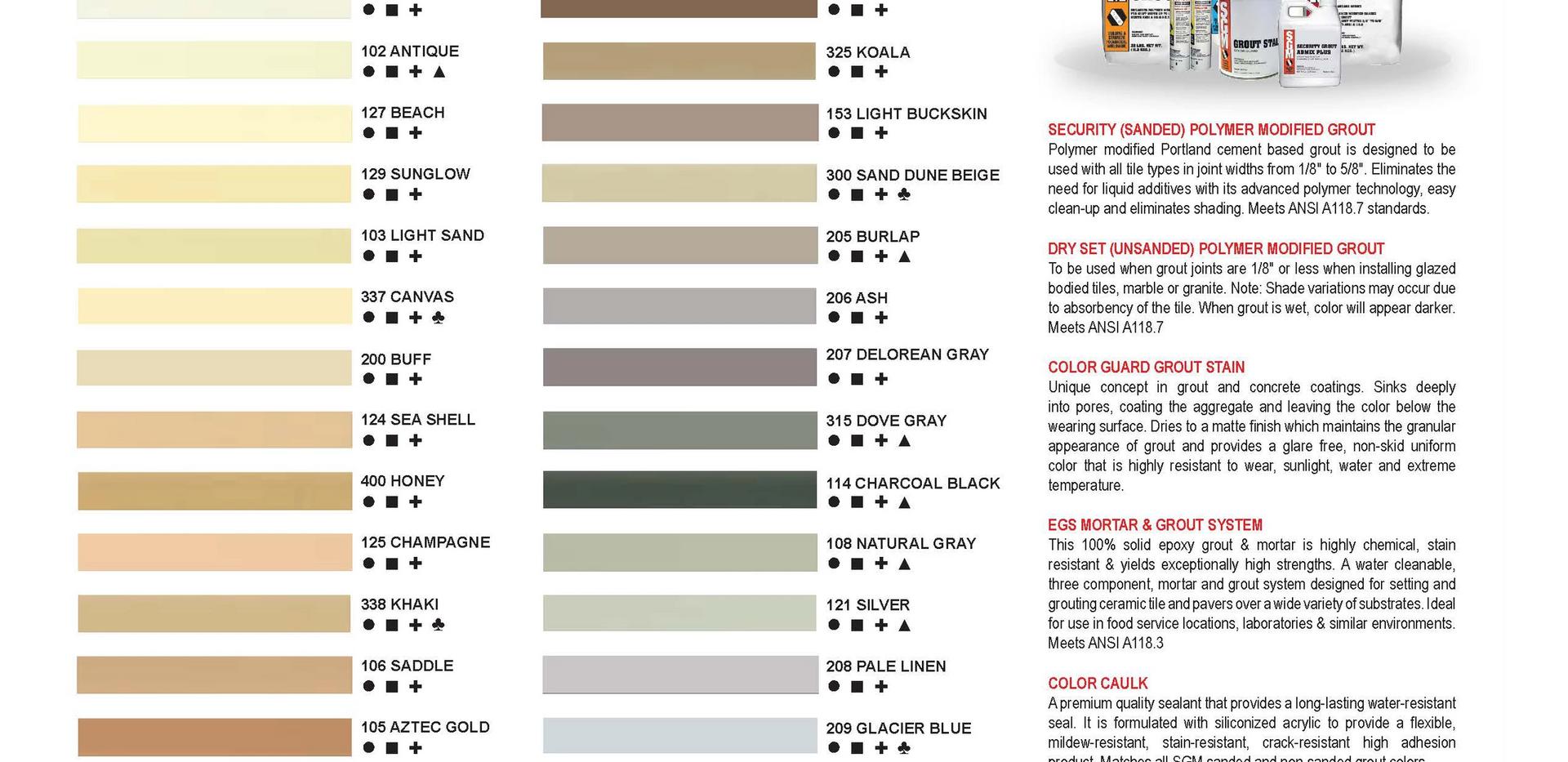 Open SGM Grout Colour Chart