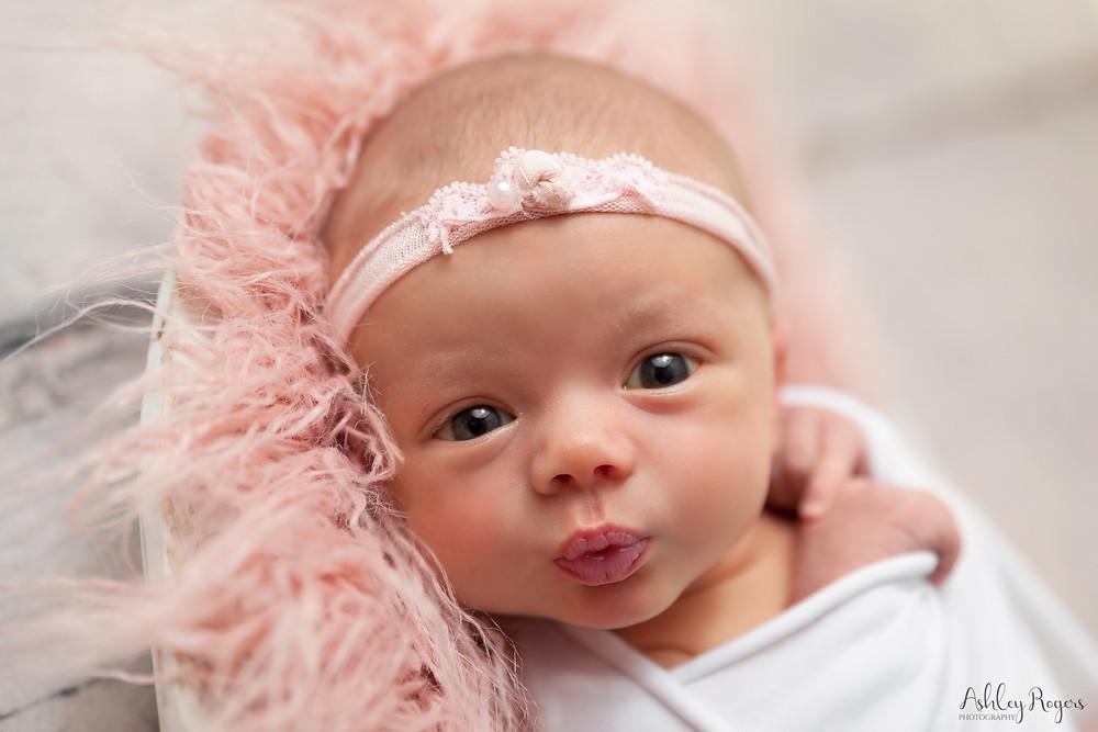 newborn girl close up