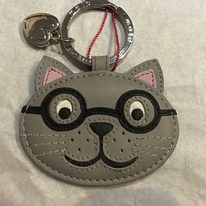 Harry the Cat Glasses Keyring Leather