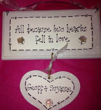 2 hearts fell in love dangly