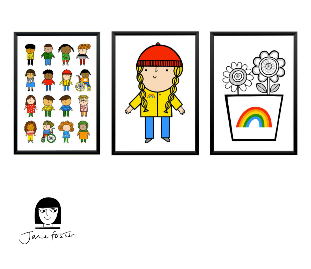 Set of three signed and framed Jane Foster prints: Friends, Polly and Rainbow Vase (top fundraisers nurseries & schools prize)
