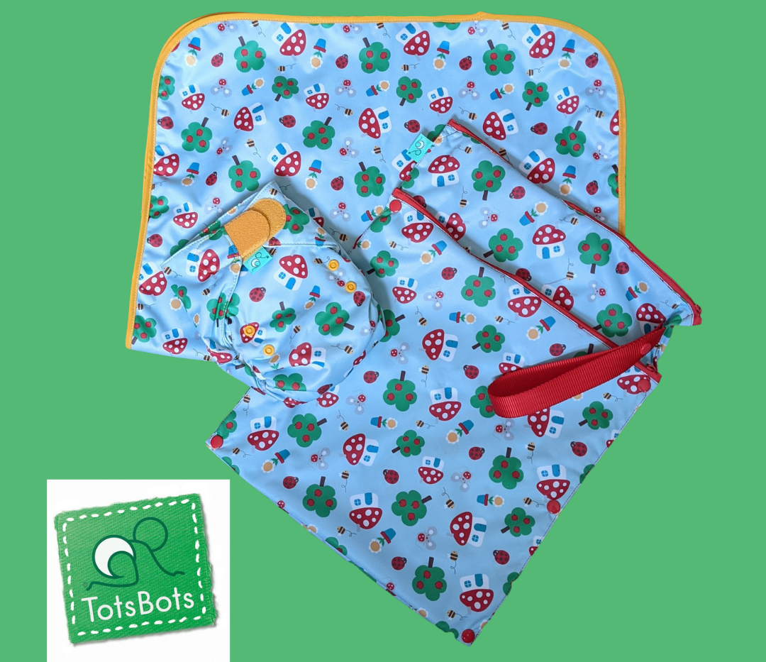 TotsBots cloth nappy, Happy Mat and wet bag bundle
