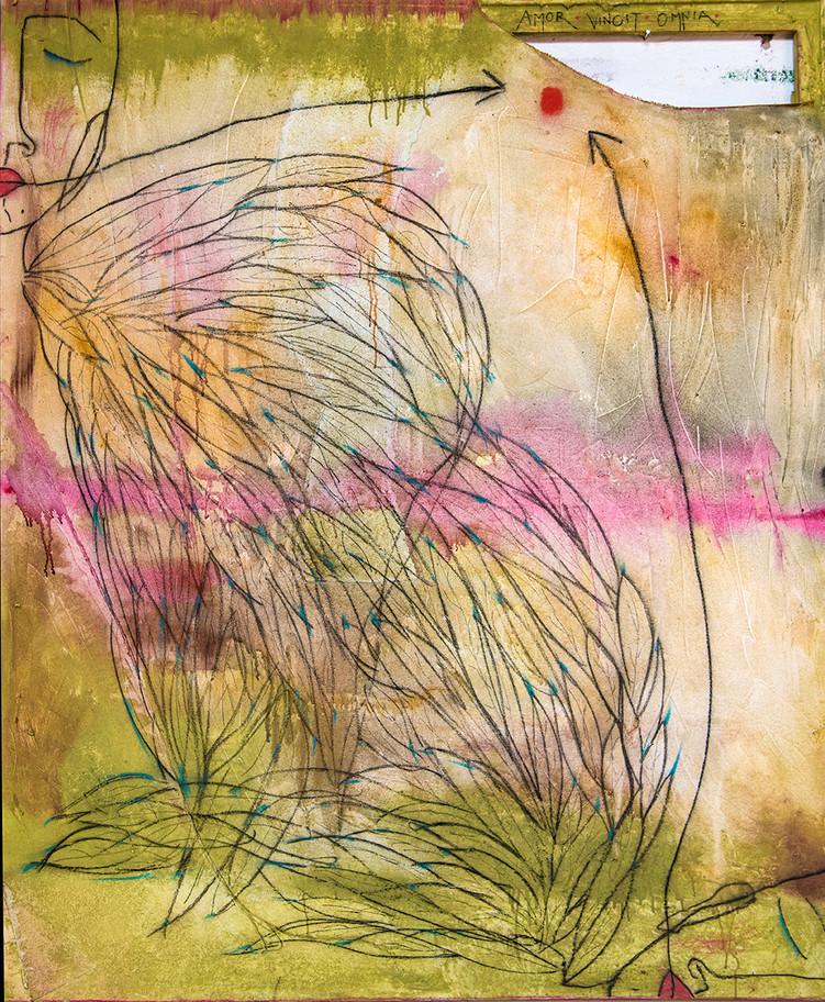 tecnica mista su lino 142 x 124 cm
