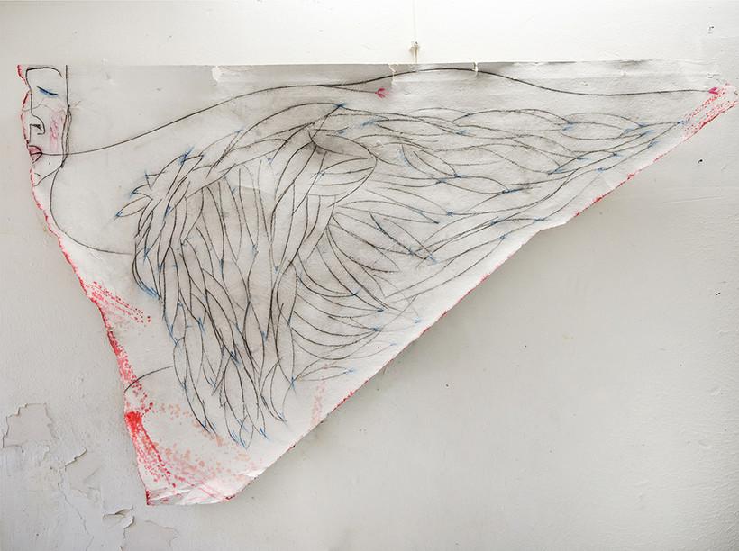 tecnica mista su carta 180 x 100 cm