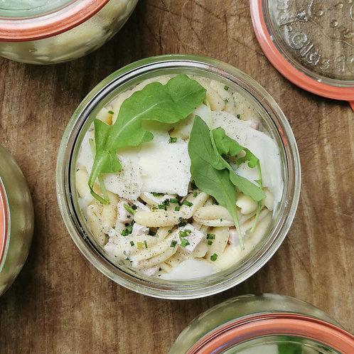 Gnocchetti Sardi, jambon à la truffe, ciboulette et crème de parmesan