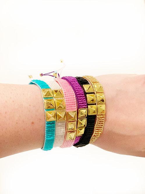 Gold Studded Beaded Bracelets (6 Colors)