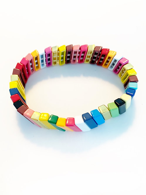 Metal Rainbow Bar Bracelet