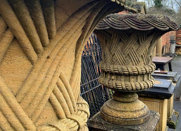 Basket Weave Urns on Plinths