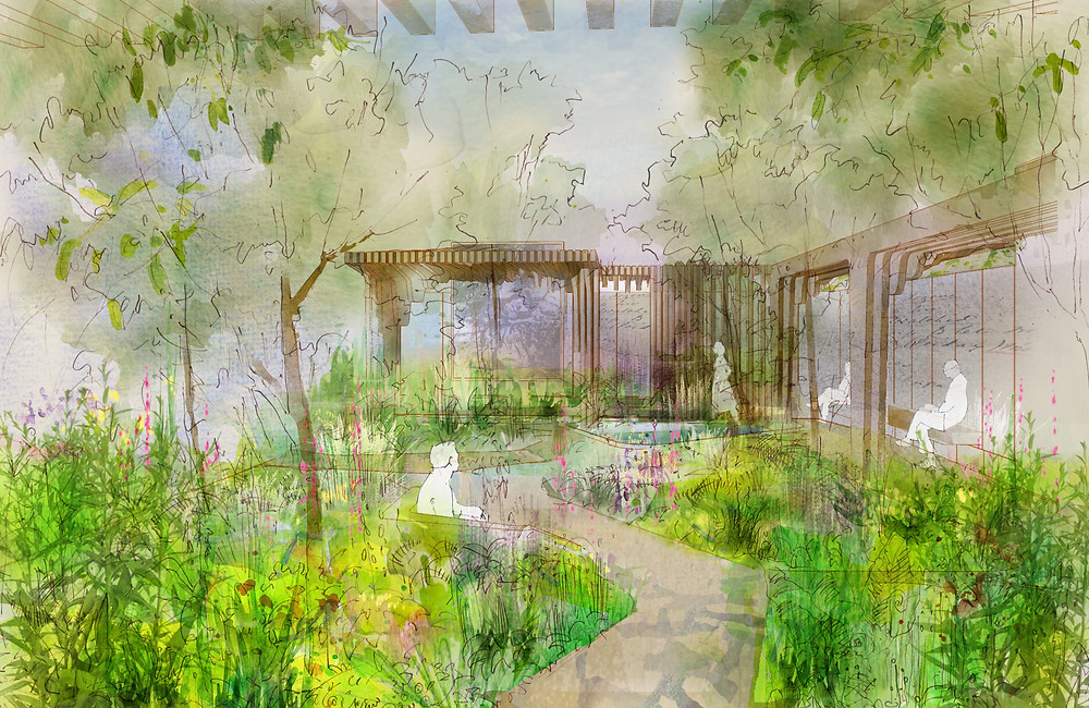 watercolour painting of a garden. A winding path leads to a seating area protected with a curved timber pergola.