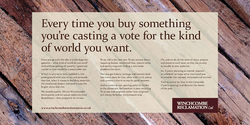 Every time you buy something you're casting a vote for the kind of world you want.
