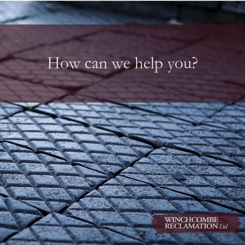 image of blue pavers with text overlay saying How can we help you