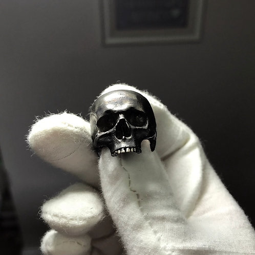 Anatomically Correct Sterling Silver Oxidised Skull Ring UK Hallmarked